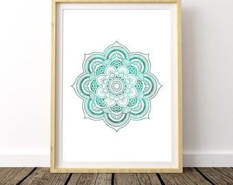 Zen Decor, Instant Download, Meditation Room, Yoga Poster, Zen Art, Digital Print, Watercolor Print, Mandala Wall Art