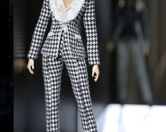 black and white suit for fashion royalty , Poppy Parker , Silkstone Barbie , fr2 , 12'' Fashion Doll