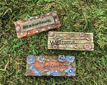 Miniature Fairy Welcome Mats - Garden Stones - 3 Styles Choose From!