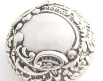 Edwardian Repousse Solid Silver Pill Box 1905