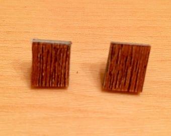 Faux Bois Woodgrain Earrings Square Repurposed Tile Earrings