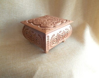"""1pc. Jewelry box Wood Carved Box Necklace Jewelry Gift Box Wedding gifts 4.73"""" souvenir Pear Шкатулка"""