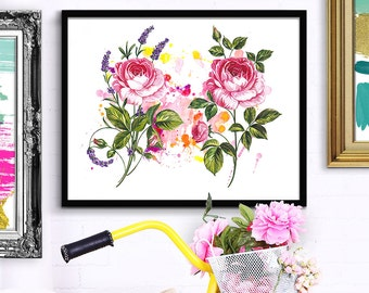 Flowers painting, flowers watercolor, watercolor painting, fashion poster, flower poster, fashion illustration, fashion art, wedding bouquet