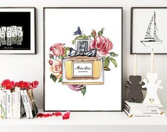 Miss Dior, Miss Dior perfume, fashion illustration, fashion poster, Dior print, Miss Dior print, fashion print, gift for her, Christian Dior