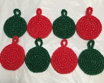 Crocheted Christmas Ornaments, Christmas Ornaments Set of 8, Pkg Tie On,Xmas Ornaments, Christmas Ornament