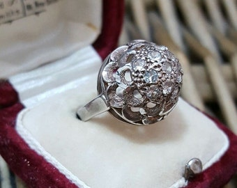 Vintage sterling silver ring, dome shaped with diamonds, size h