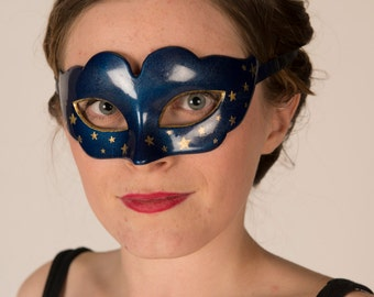 Night sky navy gold star mask with ribbon ties