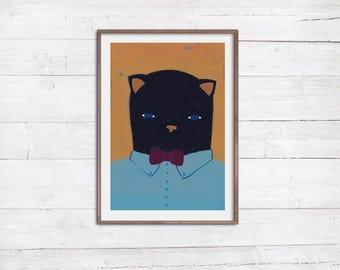 Herr Katze A4Print Poster Druck Illustration Malerei Acryl Tiere Portrait Wandbild