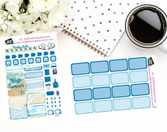 Planner Stickers| Summer Beach Mini Kit and Coordinating Half Boxes|For use in various planners|MK010 MKB010