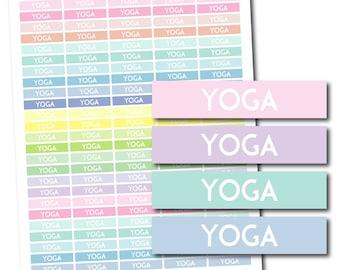 Yoga planner stickers, Yoga stickers, Printable Yoga stickers, Pastel Yoga header stickers, Pastel stickers, STI-1168
