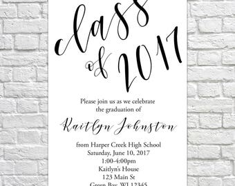 Class of 2017, Graduation Open House Invitation, Graduation Announcement, Minimalist Invitation, Gradutation Party, High School, College