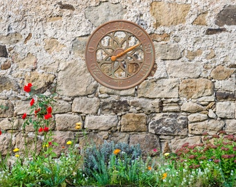 """Medallion 18"""" Indoor/Outdoor Wall Clock & Thermometer"""