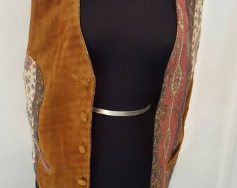 Vintage Brown Genuine Suede Leather Vest with Print