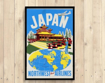 FINE ART REPRODUCTION Japan Northwest Airlines Poster Vintage Tourism Travel Poster Advertising Retro   Art Print Quality