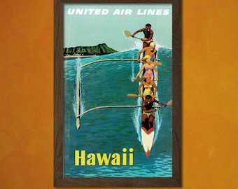 FINE ART REPRODUCTION Hawaii Travel Poster Vintage Travel Hawaii Poster Hawaii Travel Poster Travel  Art   Hawaii Print