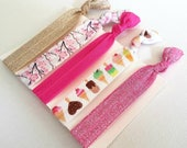 Mixed hair tie elastics -pink gold glitter, ice creams, cherry blossoms