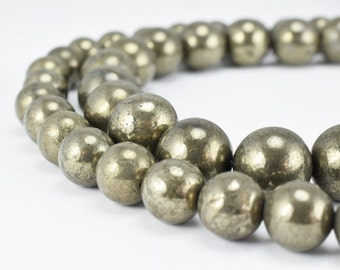 Pyrite Round Natural Gemstone Beads 8mm/10mm Natural healing stone chakra stones for Jewelry Making,Wholesale Beads,Pyrite Beads
