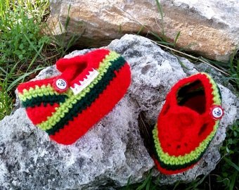 Crocheted Baby Booties Baby Slippers Shoes with Button in Red Neon Green Olive green  Stripes Soft Baby Wool