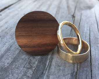 Wood and Gold Ring Set