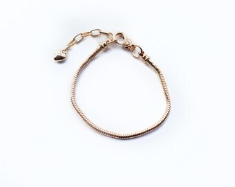 European Style Gold Plated Charm Bracelet. Gold Plated Snake Chain Bracelet with extender chain.