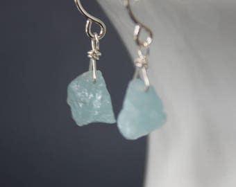 Petite Aquamarine Rough Earrings, Raw Aquamarine Earrings, Gemstone Earrings, Short Earrings, Dangling Earrings, March Birthstone