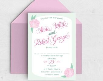 Peonies Wedding Invitation - Spring Summer Wedding - Pink, Mint Green - Peony - Floral Invitation