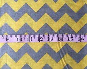 Yellow and Grey Chevron HALF YARD