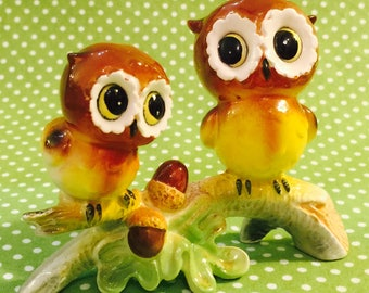 Norcrest Anthropomorphic Owls on a Branch Figurine made in Japan circa 1950s