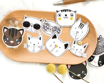 Cat Faces Sticker Box Set - 45 pcs, Cute Kittens, Card Labels, Kawaii Stationary