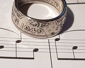 Coin Ring Half Crown  - Hand Crafted 1949 - Size T 1/2