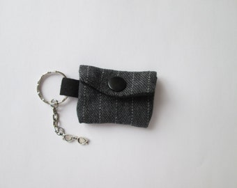Key chain mini purse grey