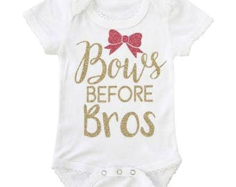 Bows Before Bros | White BodySuit with Gold Glitter