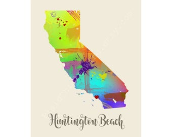 Huntington Beach California Huntington Beach Map Huntington Beach Print Huntington Beach Poster Huntington Beach Art Huntington Beach Gift