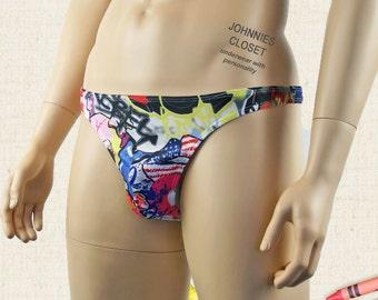 Graffiti Print V Back Mens Thong - Mens Underwear