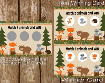 WOODLAND FRIENDS Forest Friends Scratch Off Lottery Baby Shower Cards - Set of 18