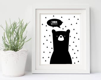 Bear print, modern bear print, modern nursery art, printable 8x10 bear, black and white printable