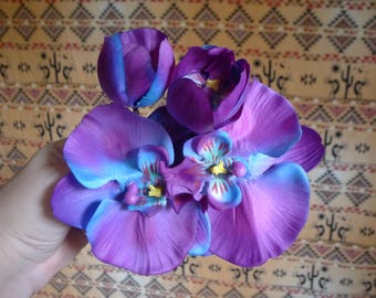 Flower Hair clip Double Orchids Blue and Purple Ombre  , Hawaii, Tiki, Pin Up, Beach, Summer, Tropical, OOAK!!!