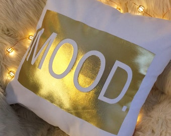 MOOD White and Gold Pillow Cover 16x16