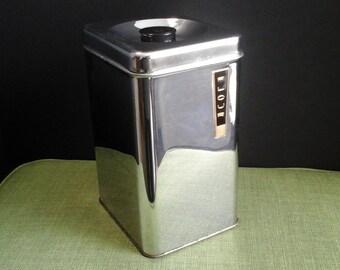 Chrome Canister, Mid Century Modern Lincoln Beauty Flour Canister