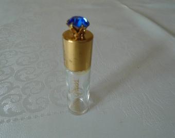 vintage Elizabeth Arden  blue grass scent bottle  large blue faceted stone