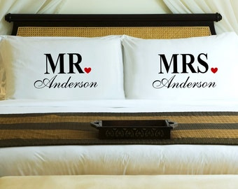 Personalized Couples Pillow Case Set - Mr. & Mrs. - Custom Pillowcases - Couples Gifts - Wedding Gift - Family Name Gift - Housewarming Gift