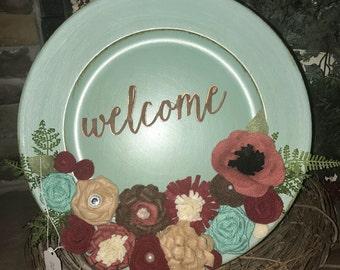 Flower embellished plate