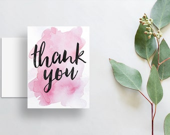 watercolor splash thank you cards // folded thank you notes // bright pink watercolor // brush lettering // PRINTED cards // custom