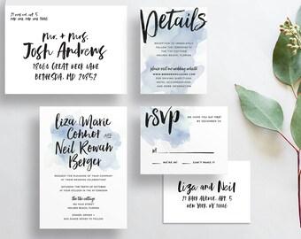 watercolor splash wedding invitations // pale blue watercolor wedding invites // brush lettering hand lettered // custom PRINTED invites