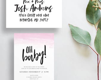 oh baby ombre baby shower invites // watercolor ombre shower invites // pink ombre invites // brush lettering // PRINTED invites