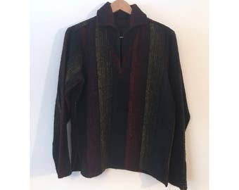 """Vintage 70s Sweater Red Green Yellow Rasta Bruxton """"Ruff Timer"""" Wool Pull Over Sweater Poncho"""