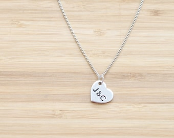 hand stamped necklace | small heart