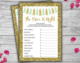 Mint and Gold - Baby Shower - The Price Is Right - Game - Cards - Mint - Gold - Tassels - PRINTABLE - Instant Download - 033