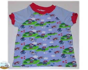 Children Baby T-Shirt shirt Jersey cotton size 62-68 pirates Island blue red