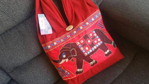 Red short handle bag, elephant purse, Shoulder Bags, Ethnic Handbag, Embroidered Bags, Tote Bags, Indian Bag, Hippie bag, xmas gift for her